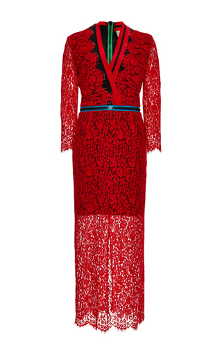 Red lace zipped sloane dress by PREEN BY THORNTON BREGAZZI Now Available on Moda Operandi