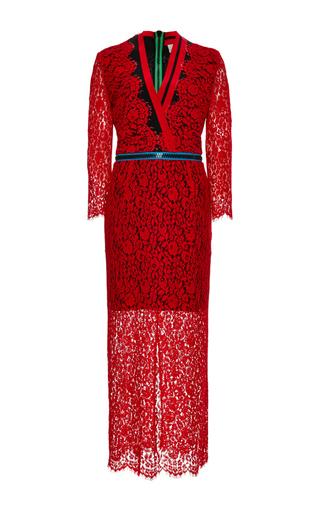 Red lace zipped sloane dress by PREEN BY THORNTON BREGAZZI Now Available on Moda Operandi