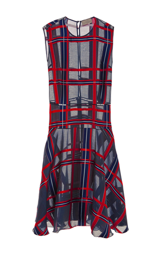 Silk Blend Checked Fil Coupé Oxford Dress by PREEN BY THORNTON BREGAZZI Now Available on Moda Operandi