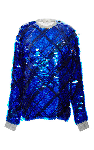 Blue cotton sequinned hoxton jumper by PREEN BY THORNTON BREGAZZI Now Available on Moda Operandi