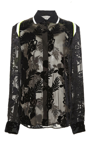 Black printed dévoré earl top by PREEN BY THORNTON BREGAZZI Now Available on Moda Operandi