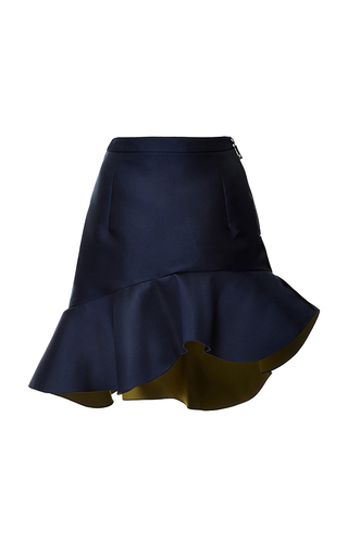 Navy peplum curzon skirt by PREEN BY THORNTON BREGAZZI Now Available on Moda Operandi