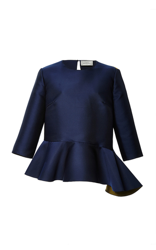 Navy satin cadogan top by PREEN BY THORNTON BREGAZZI Now Available on Moda Operandi