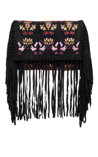 Black suede shiloh embroidered fringe bag by ISABEL MARANT Now Available on Moda Operandi