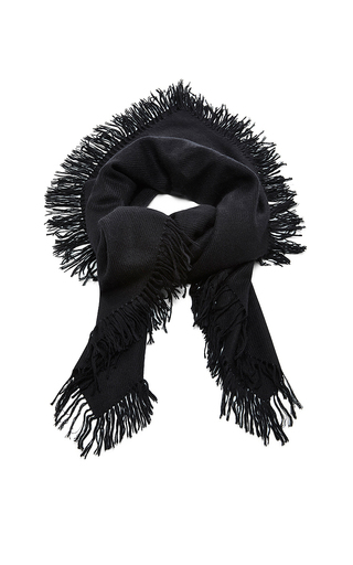 Black zila cashmere serged scarf by ISABEL MARANT Now Available on Moda Operandi