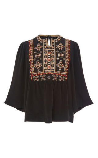 Roma embroidered silk blouse  by ISABEL MARANT Now Available on Moda Operandi