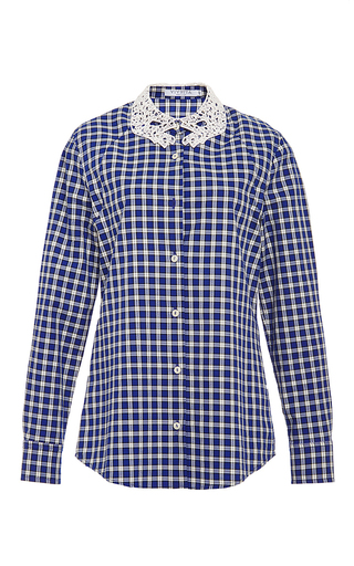 Verga check button down with hand-shaped collar by VIVETTA Now Available on Moda Operandi
