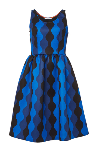 Blue printed neoprene ares dress by VIVETTA Now Available on Moda Operandi