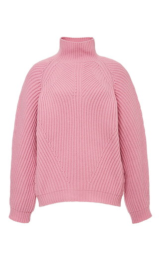 Pink wool blend malle crew neck sweater by VIVETTA Now Available on Moda Operandi