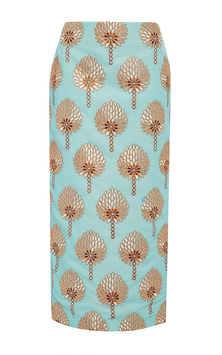 Blue cotton printed modesto tube skirt by STELLA JEAN Now Available on Moda Operandi