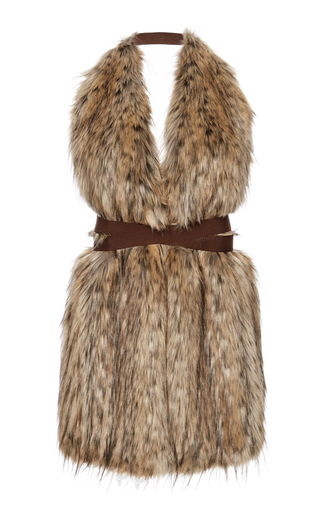Cary Faux Fur Vest With Straps by STELLA JEAN Now Available on Moda Operandi