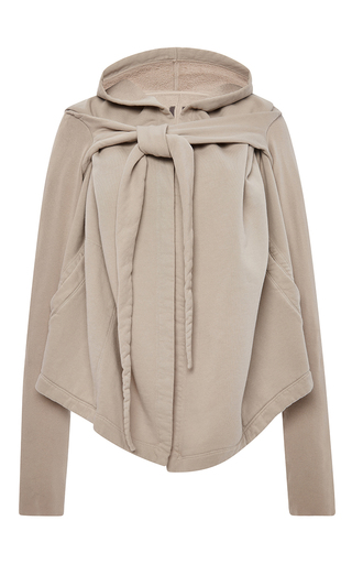 Beige Cotton Felpa Tied Hoodie by RICK OWENS DRKSHDW Now Available on Moda Operandi