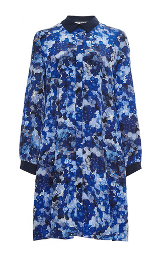 Blue silk printed collared dress  by CACHAREL Now Available on Moda Operandi