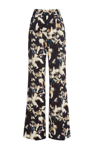 Printed retro flare pants  by CACHAREL Now Available on Moda Operandi