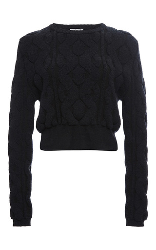 Navy wool cotton cropped cable sweater by CACHAREL Now Available on Moda Operandi