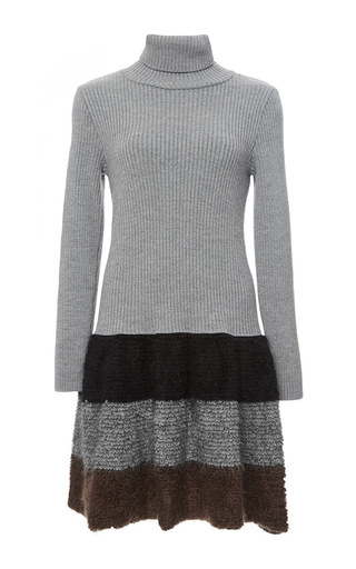 Grey wool blend turtleneck dress with striped skirt by CACHAREL Now Available on Moda Operandi