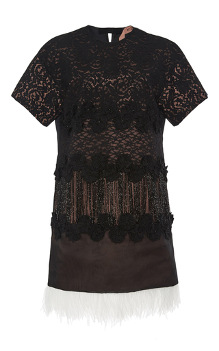Lace dress with feathered trim  by NO. 21 Now Available on Moda Operandi