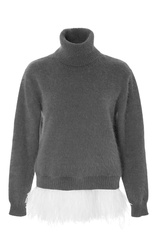 Grey mohair turtleneck sweater with feather hem by NO. 21 Now Available on Moda Operandi