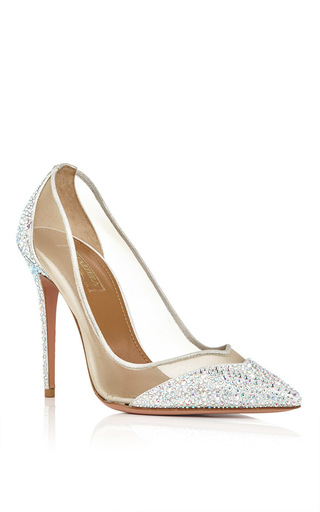 Silver nappa leather mesh studded pumps by AQUAZZURA Now Available on Moda Operandi