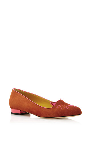Tan calf suede kitty flats by CHARLOTTE OLYMPIA Now Available on Moda Operandi