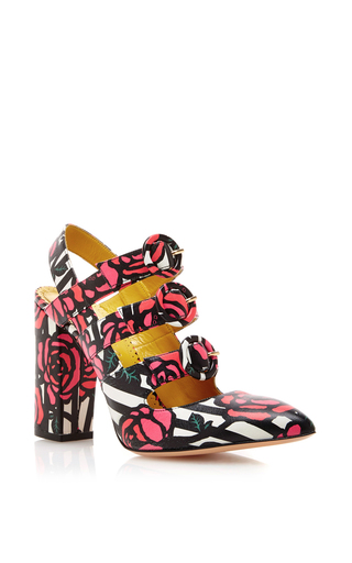 Amanda Rose Printed Triple Strap Heels  by CHARLOTTE OLYMPIA Now Available on Moda Operandi