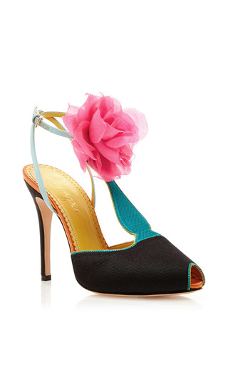Silk satin amphora t strap heels with floral pom pom by CHARLOTTE OLYMPIA Now Available on Moda Operandi