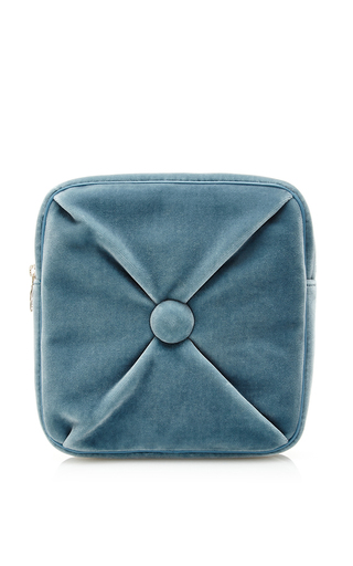 Blue velvet square cushion pouch  by CHARLOTTE OLYMPIA Now Available on Moda Operandi