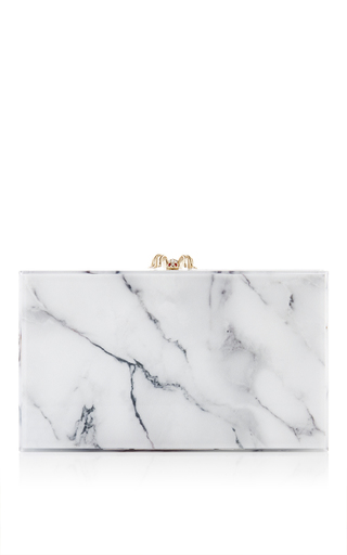 White marble perspex pandora clutch by CHARLOTTE OLYMPIA Now Available on Moda Operandi