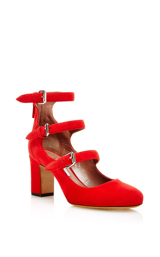 Red kid suede triple strap mary jane heels by TABITHA SIMMONS Now Available on Moda Operandi