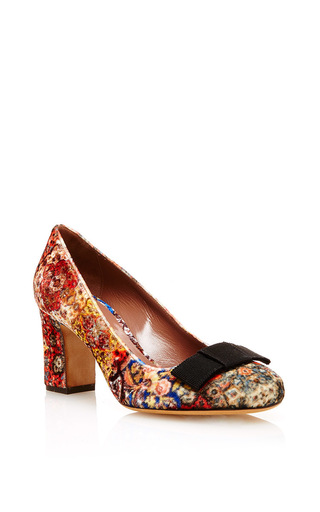 Flora printed mid heel pumps with bow by TABITHA SIMMONS Now Available on Moda Operandi