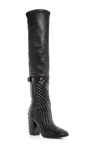 Black leather bettina over the knee boots by LAURENCE DACADE Now Available on Moda Operandi