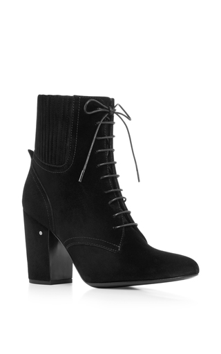 Black leather ideal lace up ankle boots by LAURENCE DACADE Now Available on Moda Operandi