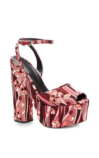 Floral jacquard platform sandals by GIAMBA Now Available on Moda Operandi