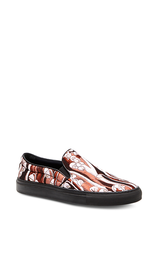Floral jacquard slip on sneakers by GIAMBA Now Available on Moda Operandi