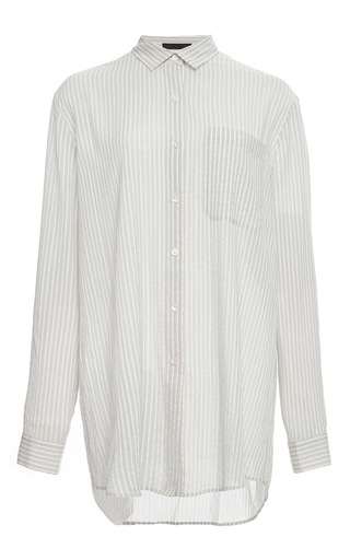 Cotton blend candy striped boyfriend shirt by ATM Now Available on Moda Operandi