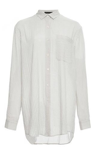 Cotton blend candy striped boyfriend shirt by ATM Now Available on Moda Operandi