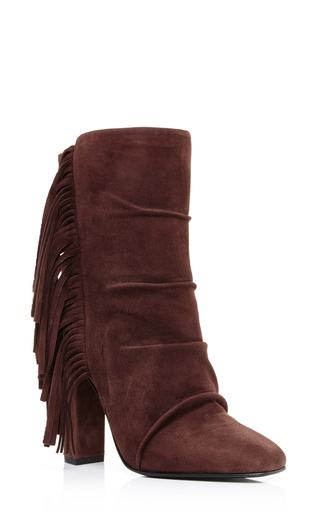 Brown suede side fringed ankle boots by GIUSEPPE ZANOTTI Now Available on Moda Operandi