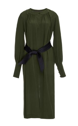 Khaki silk long sleeved dress by MARTIN GRANT Now Available on Moda Operandi
