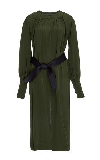 Khaki silk long sleeved dress by MARTIN GRANT Now Available on Moda Operandi