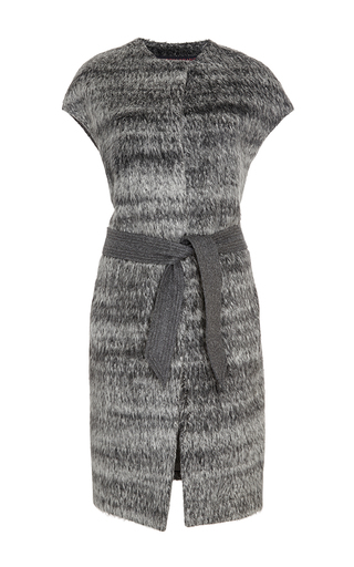 Grey alpaca wool self tie vest by MARTIN GRANT Now Available on Moda Operandi