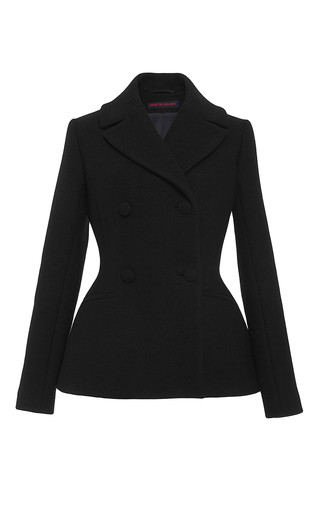 Black Wool Angora Fitted Peacoat  by MARTIN GRANT Now Available on Moda Operandi