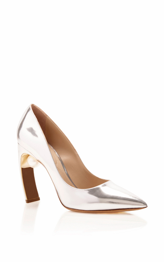 Silver Patent Maeva Pearl Pumps by NICHOLAS KIRKWOOD Now Available on Moda Operandi