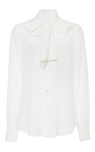 White blouse with bow by MOSCHINO Now Available on Moda Operandi