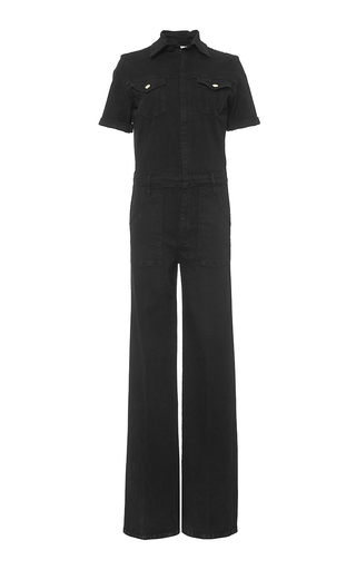 Black short sleeved le flare de francoise jumpsuit by FRAME DENIM Now Available on Moda Operandi