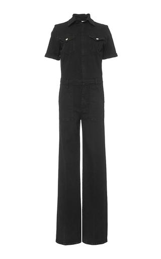 Black short sleeved le flare de francoise jumpsuit by FRAME DENIM Now Available on Moda Operandi