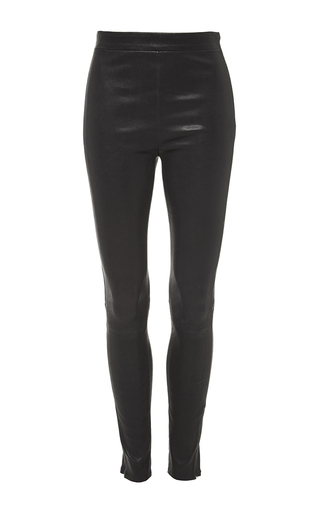 Le leggings in navy lamb leather by FRAME DENIM Now Available on Moda Operandi
