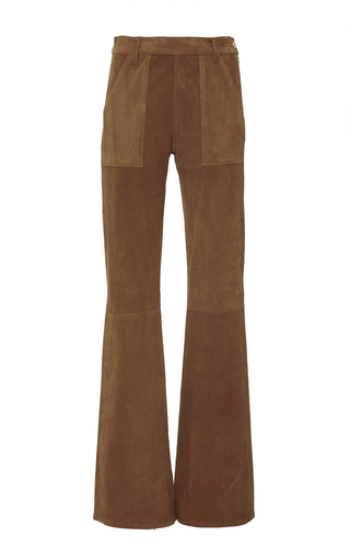 Le flare de francoise in brown lamb suede by FRAME DENIM Now Available on Moda Operandi