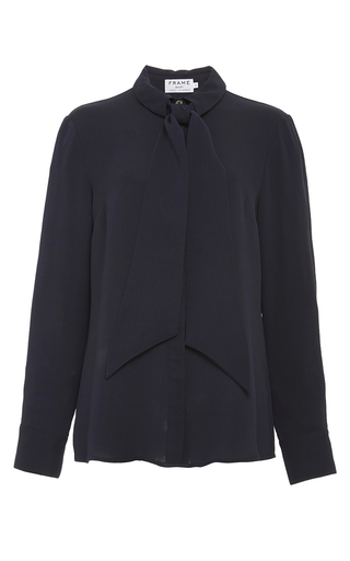 Le bow tie shirt in navy silk by FRAME DENIM Now Available on Moda Operandi