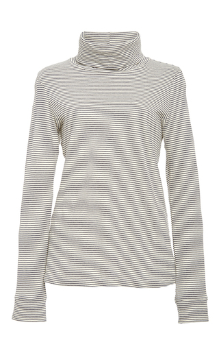 le turtleneck stripe in supima cotton  by FRAME DENIM Now Available on Moda Operandi