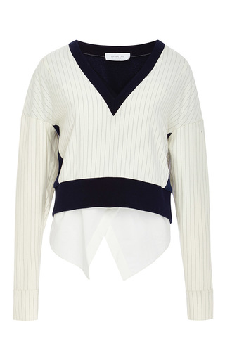 Wool blend pinstriped two in one sweater by DEREK LAM 10 CROSBY Now Available on Moda Operandi